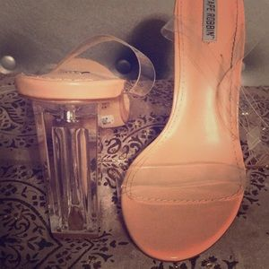 Clear Nude Strappy Heels